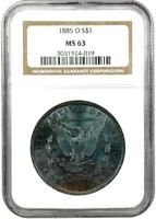 1885 O MORGAN DOLLAR NGC MINT STATE 63 AN UNREAL BLACK BEAUTY W/ PASTEL TONE JAW-DROPPING