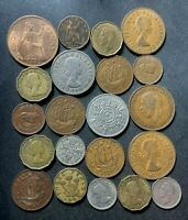 VINTAGE GREAT BRITAIN COIN LOT   1894 1967   21 VINTAGE COIN