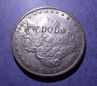 COUNTERSTAMPED 1880 MORGAN DOLLAR W.W. DODGE   EXTRA FINE /AU