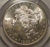 1882-S MORGAN SILVER DOLLAR. PCGS MINT STATE 63. SHIPS FREE