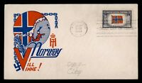 DR WHO 1943 FDC OVERRUN NATIONS WWII PATRIOTIC CACHET NORWAY