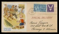DR WHO 1944 FDC SPECIAL DELIVERY 13C WWII PATRIOTIC CACHET C