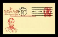 US FIRST DAY POSTAL CARD 2 CENTS ABRAHAM LINCOLN