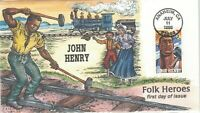 3085 JOHN HENRY FDC COLLINS HAND PAINTED CACHET.
