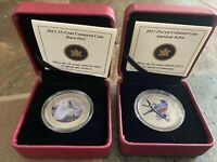 2013 CANADIAN MINT 25 CENT COLOURED COIN   BARN OWL & AMERICAN ROBIN LOT