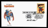 DR WHO 2006 FDC DC COMICS SUPER HEROES SUPERMAN GINSBURG CAC