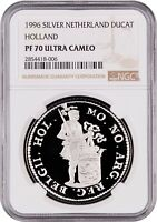 1996 NETHERLANDS SILVER DUCAT HOLLAND PROOF NGC PF70 ULTRA CAMEO