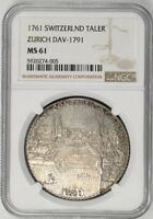 Click now to see the BUY IT NOW Price! 1761 SWITZERLAND ZURICH THALER NGC MS61 SILVER CITY VIEW LION W/HD VIDEO IN DESC