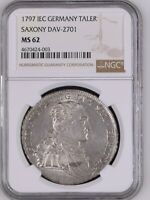 1797 IEC GERMANY SAXONY TALER NGC MS62 SILVER THALER UNCIRCULATED EXQUISITE