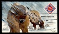 DR WHO 2001 FDC PAN AMERICAN EXPO BUFFALO FISHER HAND PAINTE