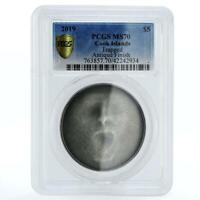 COOK ISLANDS 5 DOLLARS HORROR SERIES TRAPPED FACE MS70 PCGS