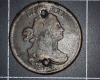 1804 CROSSLET 4 WITH STEMS DRAPED BUST HALF CENT 2 HOLED AND LIGHT SCRATCHES