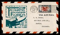 DR WHO 1938 TALLAHASSEE FL FIRST FLIGHT AIR MAIL CAM 39 C214