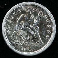 1841 10C SEATED LIBERTY DIME MINOR HAIRLINES