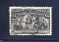 US STAMPS   245    USED    $5  1893 COLUMBUS ISSUE   BEAUTY