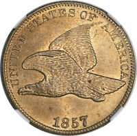 1857 1C FLYING EAGLE NGC MINT STATE 63 CAC