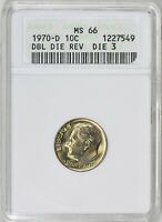 1970-D ROOSEVELT DIME DDR DIE 3 ANACS MINT STATE 66