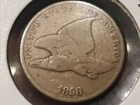 1858 SMALL LETTER FLYING EAGLE CENT 4