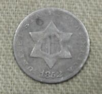 1852 THREE 3 CENT SILVER VG  GOOD  FULL DATE PROBLEM FREE NG94