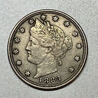 1883 WITH CENTS  LIBERTY V NICKEL    EXTRA FINE  DETAILS   BETTER DATE