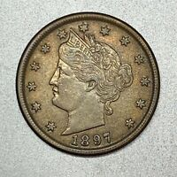 1897 LIBERTY V NICKEL    AU     HIGHER GRADE TYPE COIN