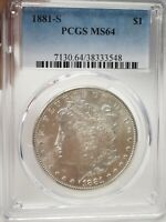 1881-S MORGAN SILVER DOLLAR COIN $1 PCGS MINT STATE 64  3548