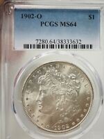 1902-O MORGAN DOLLAR US $1 NEW ORLEANS SILVER, PCGS MINT STATE 64  3632