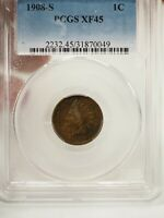 1908-S INDIAN HEAD CENT 1C PENNY PCGS EXTRA FINE  45  0049