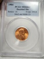 1984 1C RD LINCOLN MEMORIAL ONE CENT  PCGS MINT STATE 66RD  DOUBLED DIE