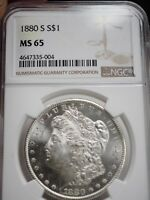 1880-S MORGAN DOLLAR SILVER COIN GRADED NGC MINT STATE 65  5004