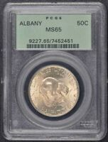 ALBANY 1936 50C SILVER COMMEMORATIVE PCGS MINT STATE 65