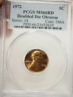 1972 1C DOUBLED DIE OBVERSE LINCOLN MEMORIAL CENT PCGS MINT STATE 66 RD  2635