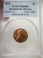 1972 1C DOUBLED DIE OBVERSE LINCOLN MEMORIAL CENT PCGS MINT STATE 64 RD  6173