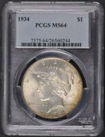 1934 $1 PEACE DOLLAR PCGS MINT STATE 64