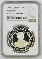 1988 GUERNSEY 2 POUNDS SILVER PROOF WILLIAM II NGC PF70 ULTRA CAMEO