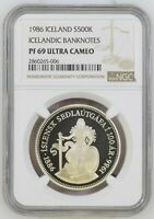 1986 ICELAND 500 KRONUR SILVER PROOF 100TH ANNIV. BANKNOTES NGC PF69 ULTRA CAMEO