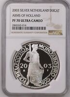 2003 NETHERLANDS SILVER DUCAT HOLLAND PROOF NGC PF70 ULTRA CAMEO