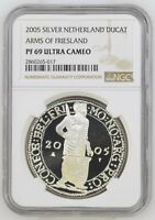 2005 NETHERLANDS SILVER DUCAT FRIESLAND PROOF NGC PF69 ULTRA CAMEO