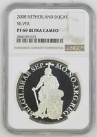 2008 NETHERLANDS SILVER DUCAT BRABANT PROOF NGC PF69 ULTRA CAMEO
