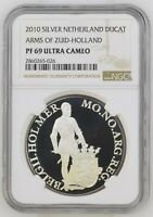 2010 NETHERLANDS SILVER DUCAT HOLLAND PROOF NGC PF69 ULTRA CAMEO