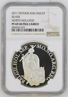 2011 NETHERLANDS SILVER DUCAT HOLLAND PROOF NGC PF69 ULTRA CAMEO