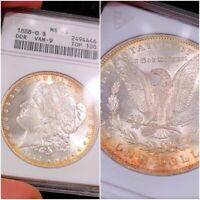 1888-O MINT STATE 65 OLD WHITE ANACS GEM DDR VAM-9 TOP 100 TONED COLOR MORGAN LUSTER