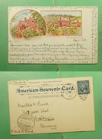 DR WHO 1899 NY PATRIOGRAPHIC POSTCARD PAQUEBOT SHIP TO GERMA