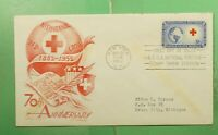DR WHO 1952 FDC RED CROSS 70TH ANIV STAEHLE/CACHET CRAFT  G1