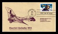 HARRIET QUIMBY FIRST AMERICAN WOMAN AVIATOR AIRMAIL US FIRST