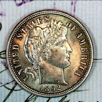 1892 S   NEAR GEM BU MS SILVER BARBER DIME   FROM ORIGINAL COLLECTION