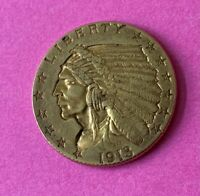 1913 $2 1/2 DOLLAR $2.50 GOLD INDIAN HEAD EAGLE COIN WITH CA