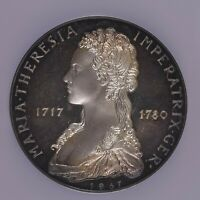 1967 GERMANY 3 SILVER DUCAT ARGENTEUS MARIA THERESA PROOF NGC PF67 AMAZING TONE