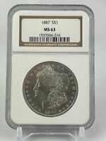 1887 MORGAN SILVER DOLLAR  NGC  MINT STATE 63  BRIGHT WHITE BEAUTIFUL COIN