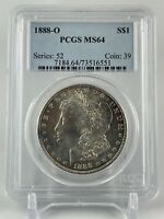 1888 O  MORGAN SILVER DOLLAR  PCGS MINT STATE 64  AWESOME TONING   A TRUE BEAUTY